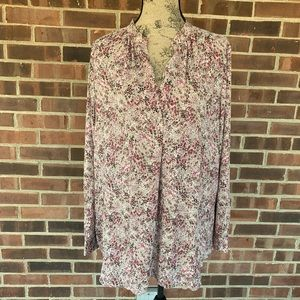 LOFT floral print long sleeve blouse